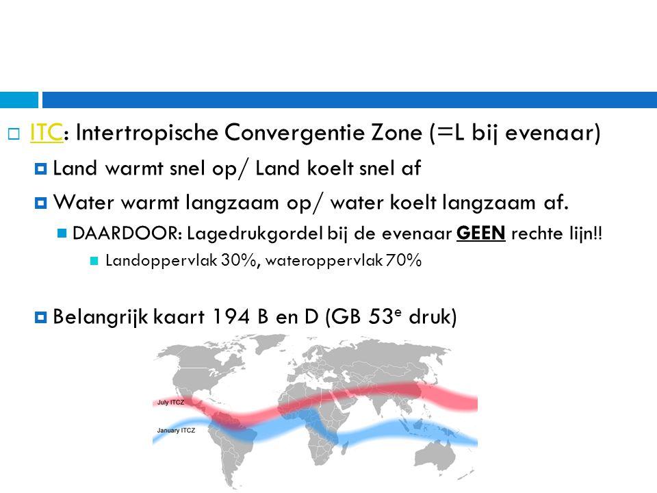 ITC: Intertropische Convergentie Zone (=L bij evenaar)
