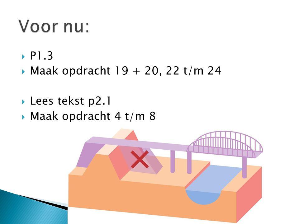 Voor nu: P1.3 Maak opdracht 19 + 20, 22 t/m 24 Lees tekst p2.1