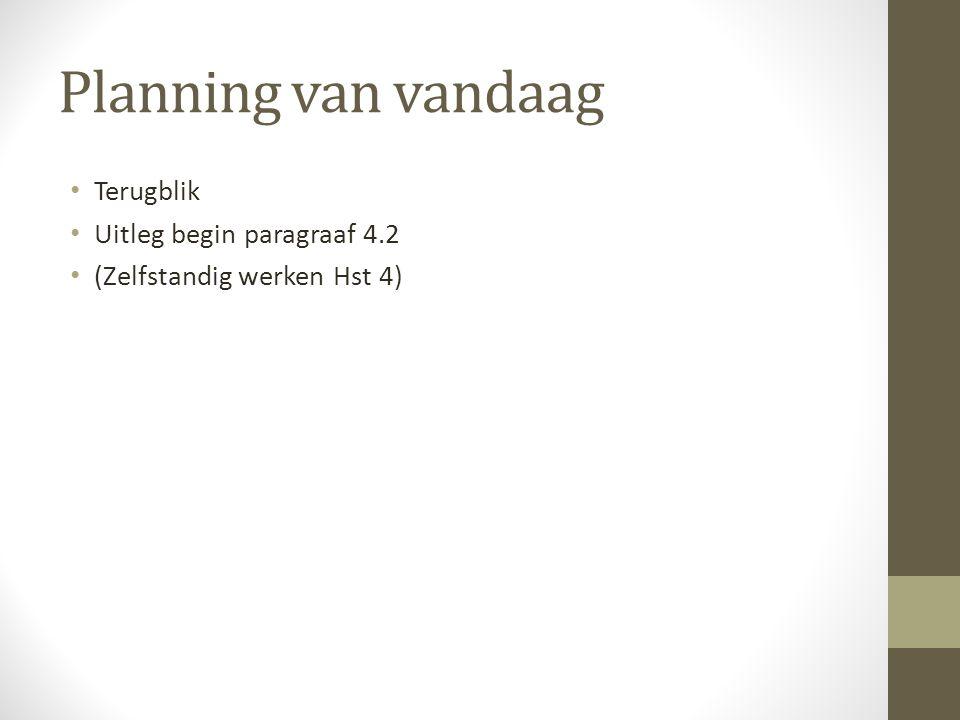 Planning van vandaag Terugblik Uitleg begin paragraaf 4.2