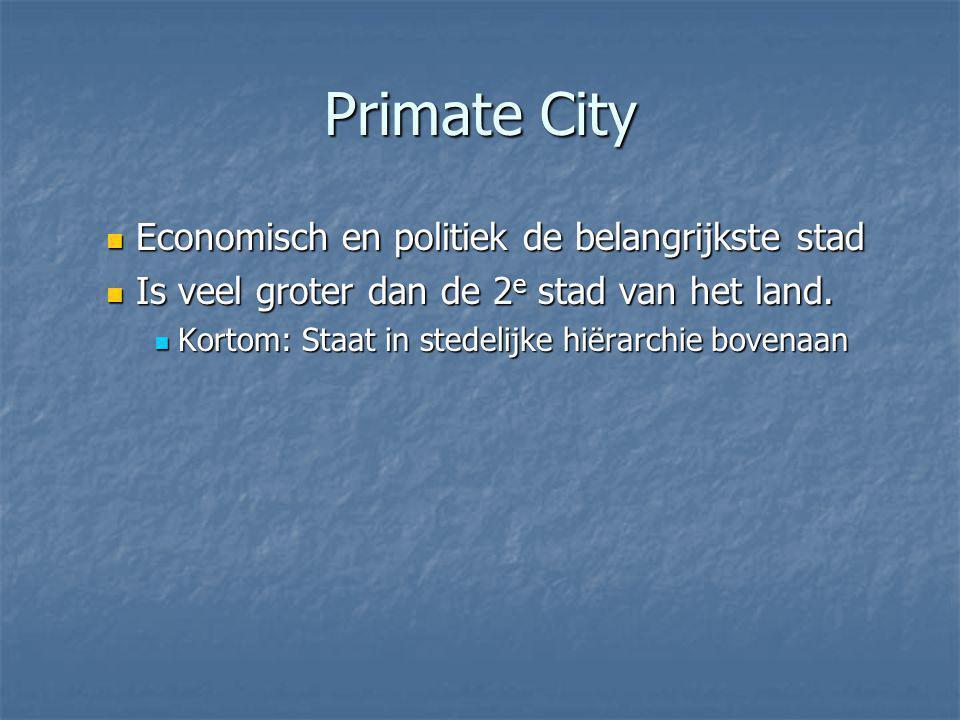 Primate City Economisch en politiek de belangrijkste stad