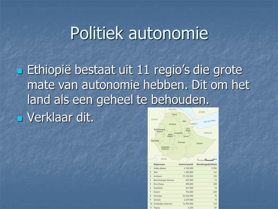 Politiek autonomie Ethiopië bestaat uit 11 regio's die grote mate van autonomie hebben. Dit om het land als een geheel te behouden.
