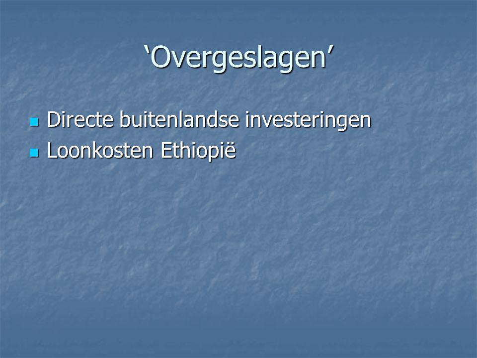 'Overgeslagen' Directe buitenlandse investeringen Loonkosten Ethiopië