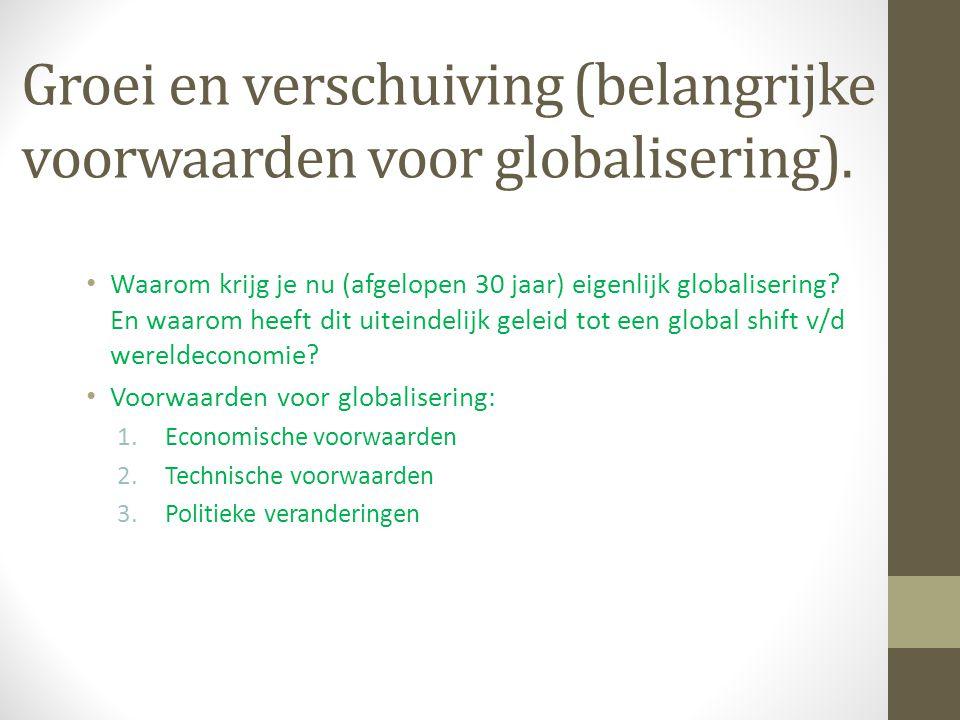 Groei en verschuiving (belangrijke voorwaarden voor globalisering).