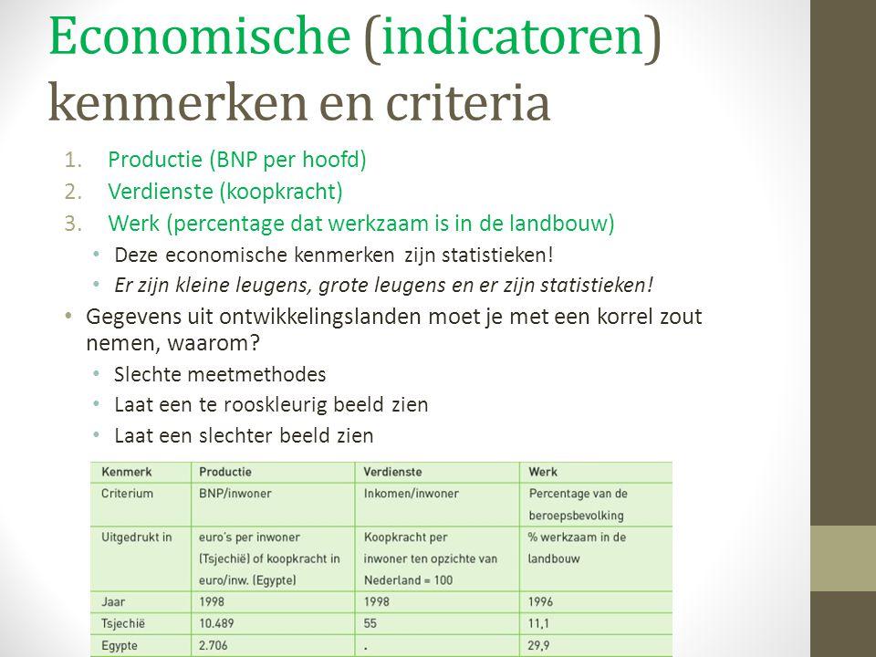 Economische (indicatoren) kenmerken en criteria