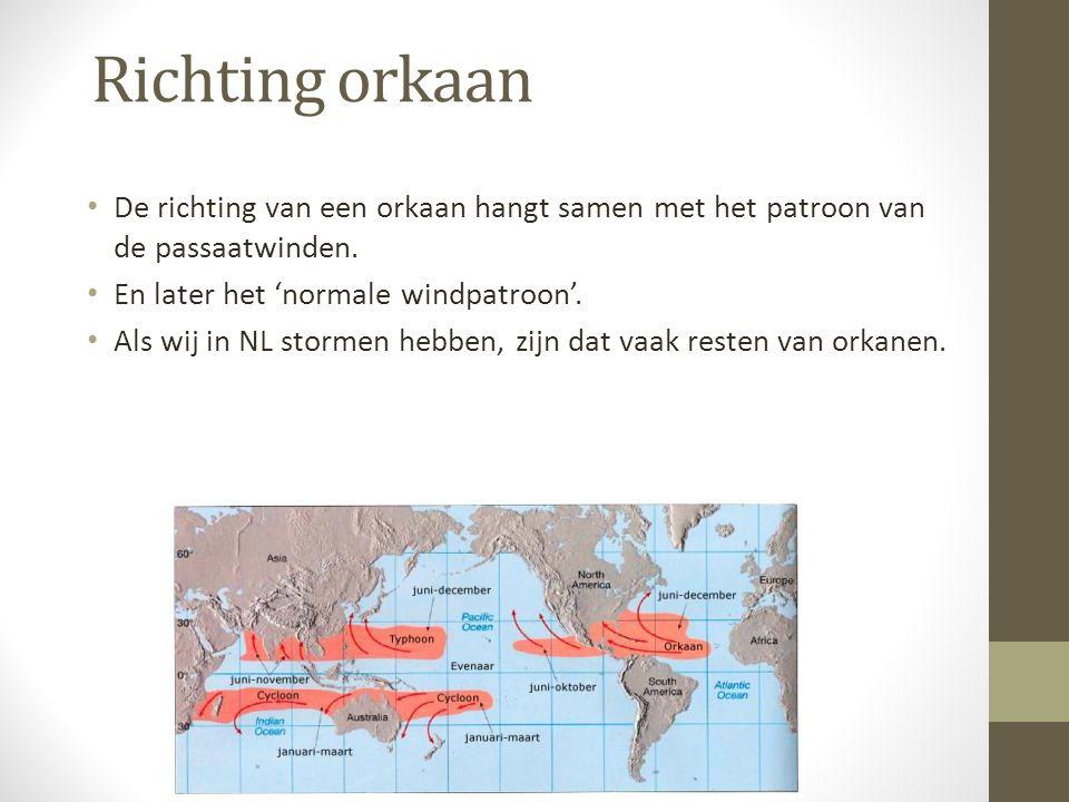 Richting orkaan De richting van een orkaan hangt samen met het patroon van de passaatwinden. En later het 'normale windpatroon'.
