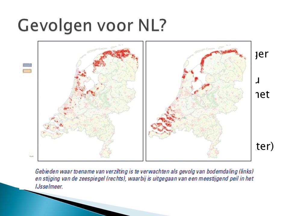 Gevolgen voor NL Gebieden die lager liggen dan Zeespiegelniveau
