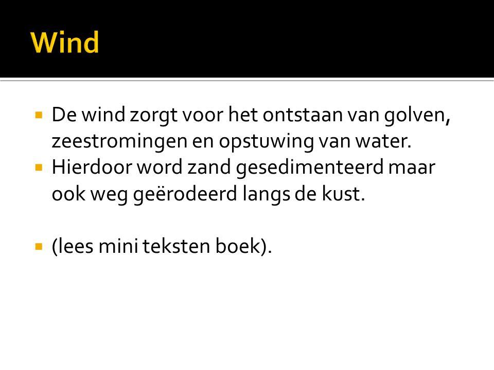 Wind De wind zorgt voor het ontstaan van golven, zeestromingen en opstuwing van water.