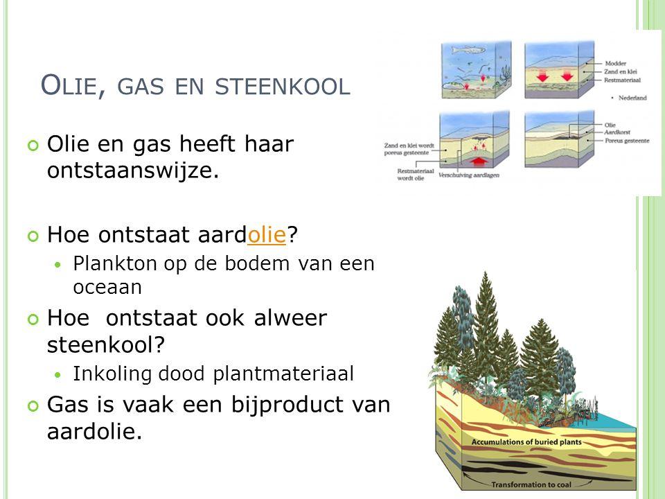 Olie, gas en steenkool Olie en gas heeft haar ontstaanswijze.