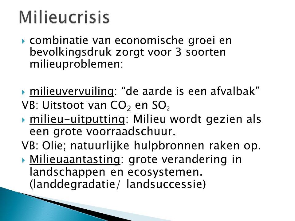 Milieucrisis combinatie van economische groei en bevolkingsdruk zorgt voor 3 soorten milieuproblemen: