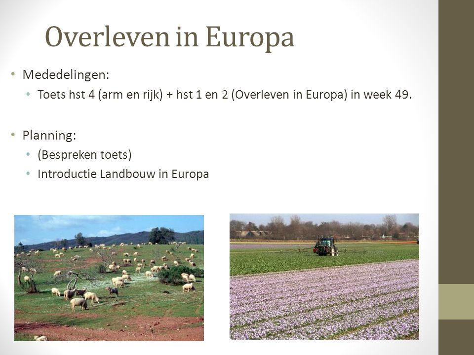 Overleven in Europa Mededelingen: Planning: