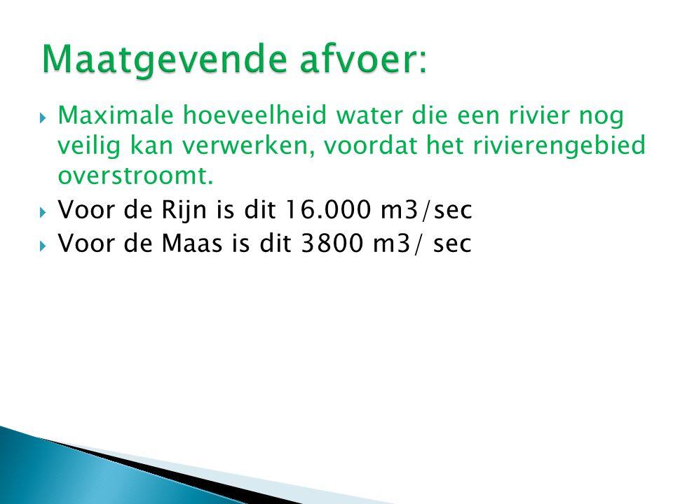 Maatgevende afvoer: Maximale hoeveelheid water die een rivier nog veilig kan verwerken, voordat het rivierengebied overstroomt.