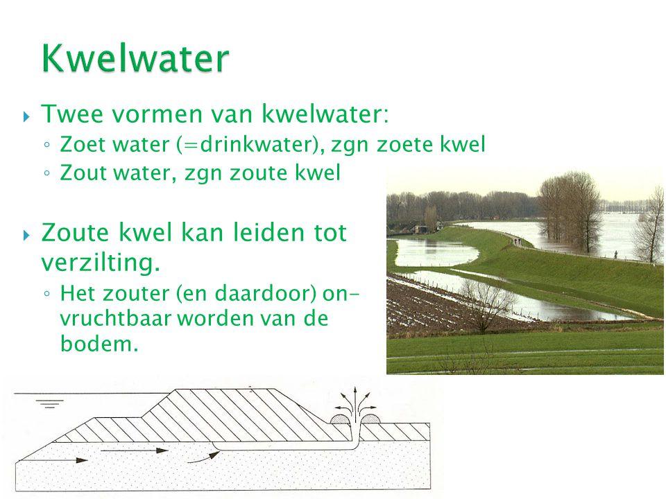 Kwelwater Twee vormen van kwelwater: