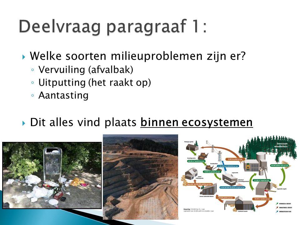 Deelvraag paragraaf 1: Welke soorten milieuproblemen zijn er