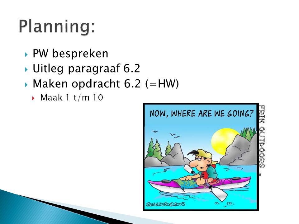 Planning: PW bespreken Uitleg paragraaf 6.2 Maken opdracht 6.2 (=HW)