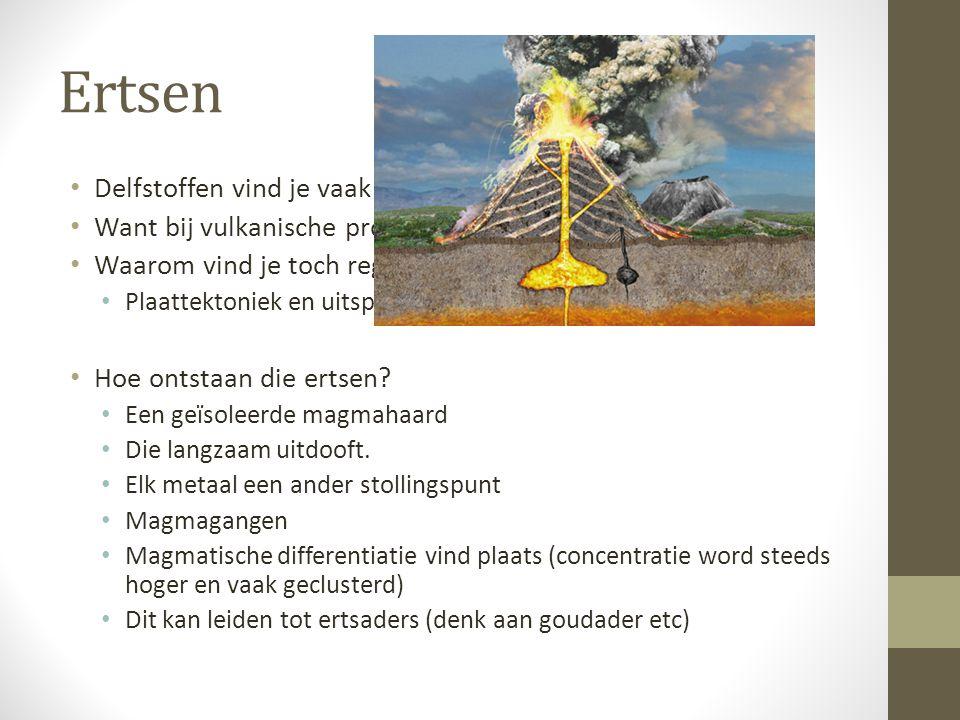 Ertsen Delfstoffen vind je vaak in de omgeving van vulkanen.