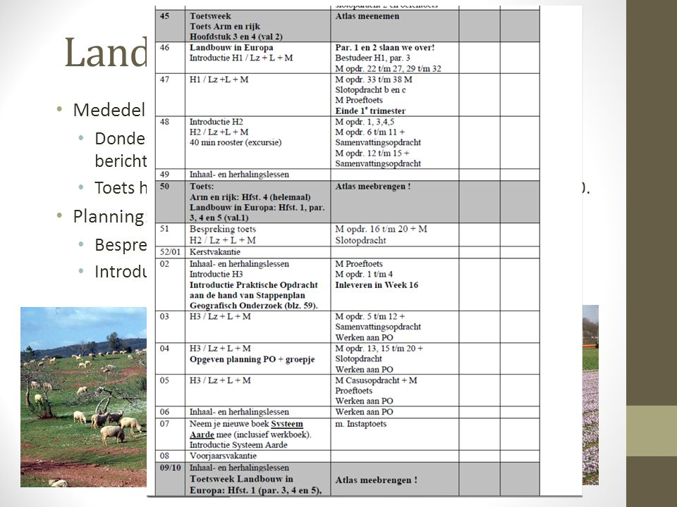 Landbouw in Europa Mededelingen: Planning: