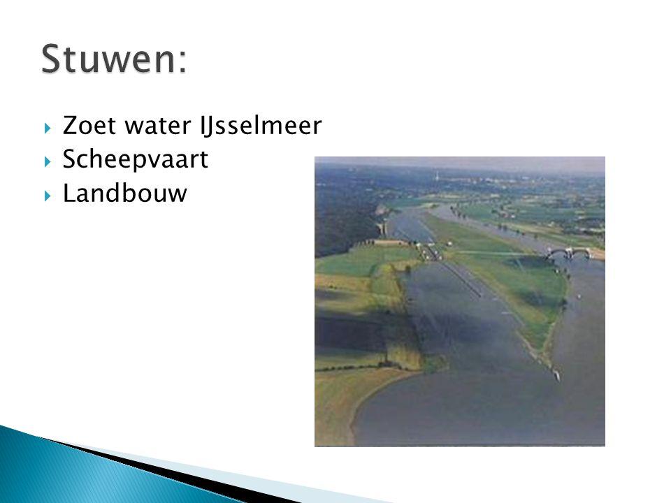 Stuwen: Zoet water IJsselmeer Scheepvaart Landbouw