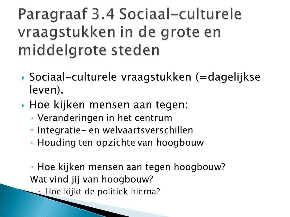 Paragraaf 3.4 Sociaal-culturele vraagstukken in de grote en middelgrote steden