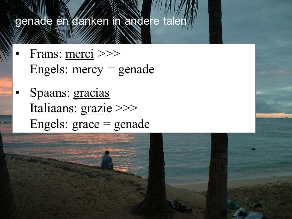 Frans: merci >>> Engels: mercy = genade