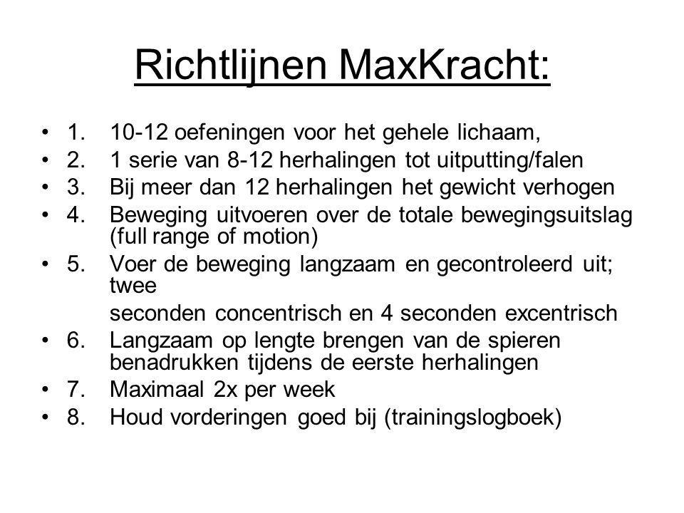 Richtlijnen MaxKracht: