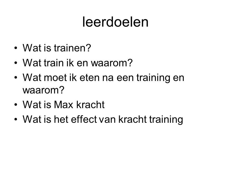 leerdoelen Wat is trainen Wat train ik en waarom
