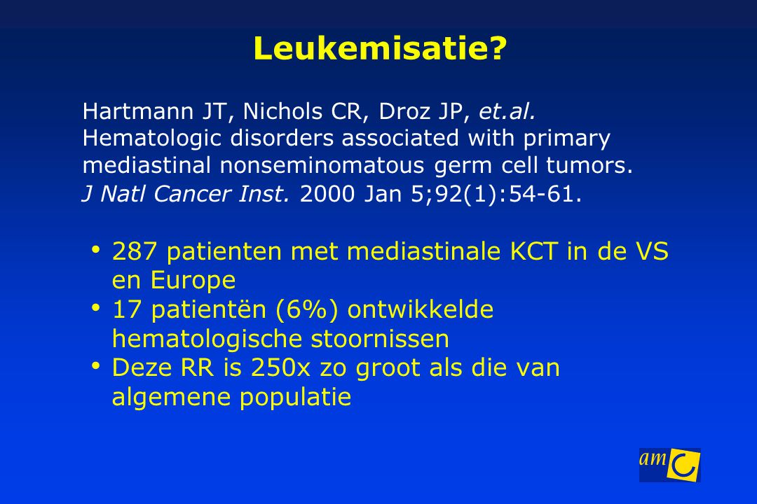 Leukemisatie 287 patienten met mediastinale KCT in de VS en Europe