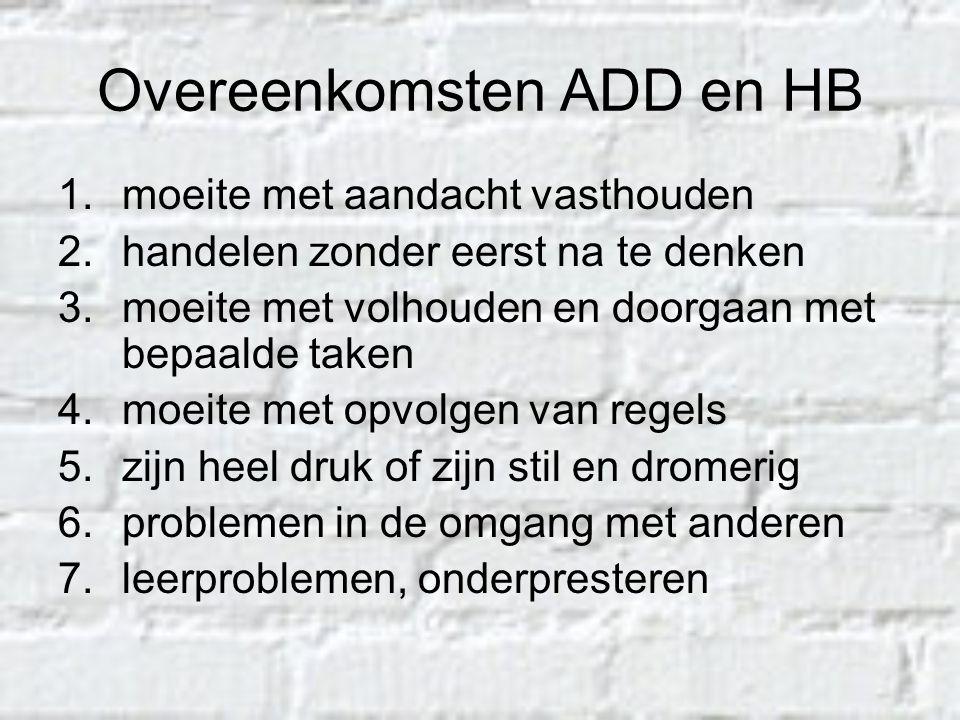 Overeenkomsten ADD en HB