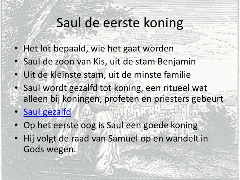 Saul de eerste koning Het lot bepaald, wie het gaat worden
