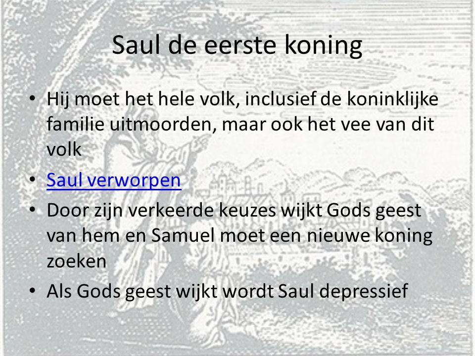 Saul de eerste koning Hij moet het hele volk, inclusief de koninklijke familie uitmoorden, maar ook het vee van dit volk.