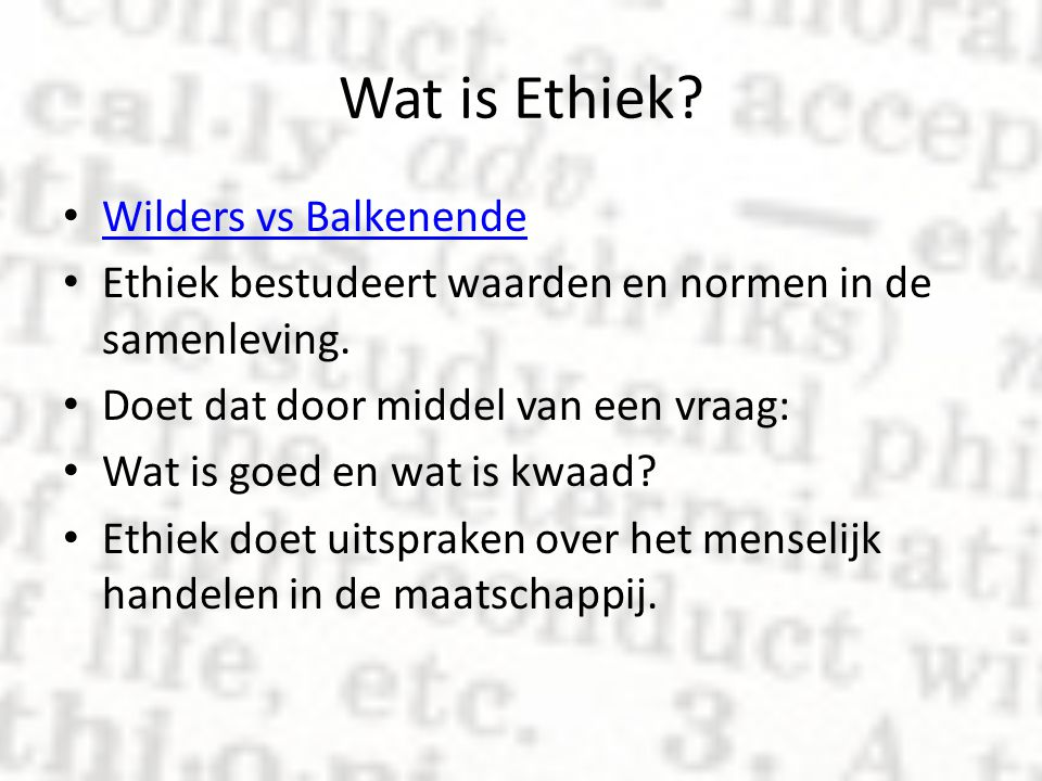 Wat is Ethiek Wilders vs Balkenende