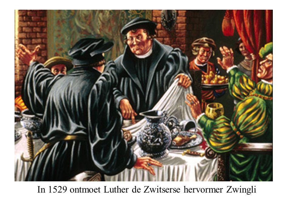 In 1529 ontmoet Luther de Zwitserse hervormer Zwingli