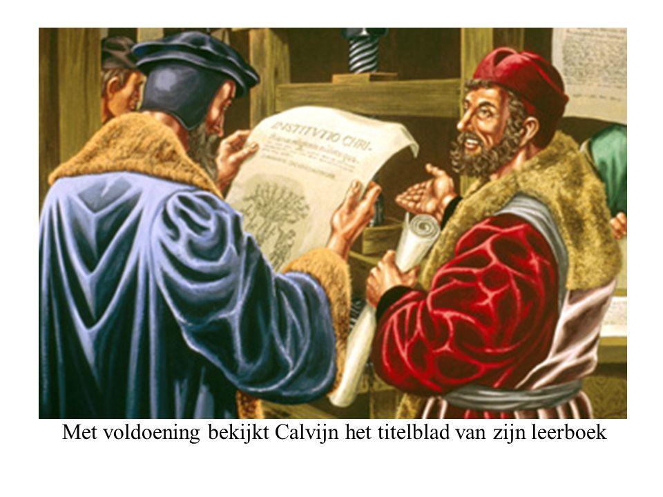 Met voldoening bekijkt Calvijn het titelblad van zijn leerboek