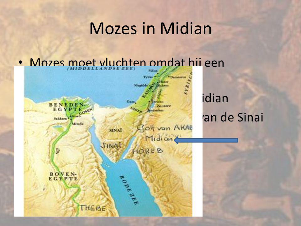Mozes in Midian Mozes moet vluchten omdat hij een Egyptenaar heeft doodgeslagen. Hij vlucht de woestijn in naar Midian.