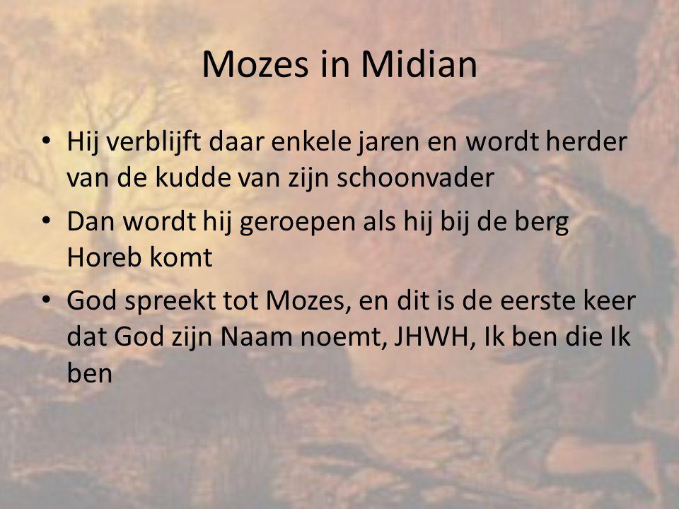 Mozes in Midian Hij verblijft daar enkele jaren en wordt herder van de kudde van zijn schoonvader.