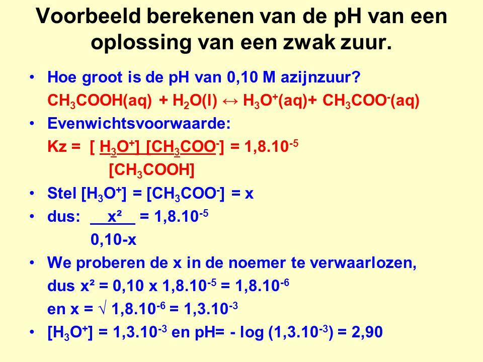 Voorbeeld berekenen van de pH van een oplossing van een zwak zuur.