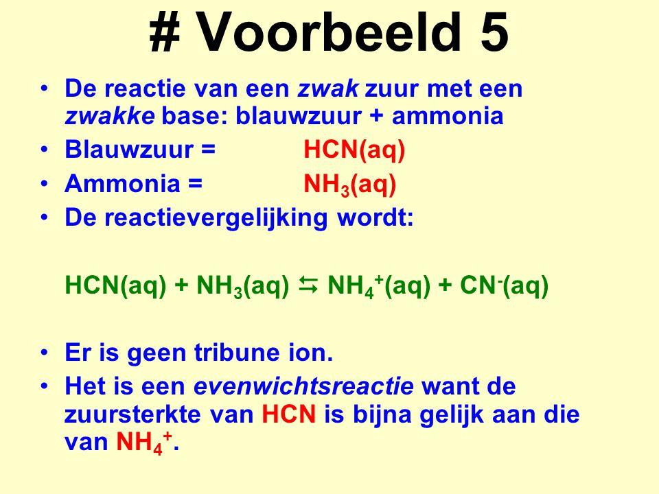 # Voorbeeld 5 De reactie van een zwak zuur met een zwakke base: blauwzuur + ammonia. Blauwzuur = HCN(aq)