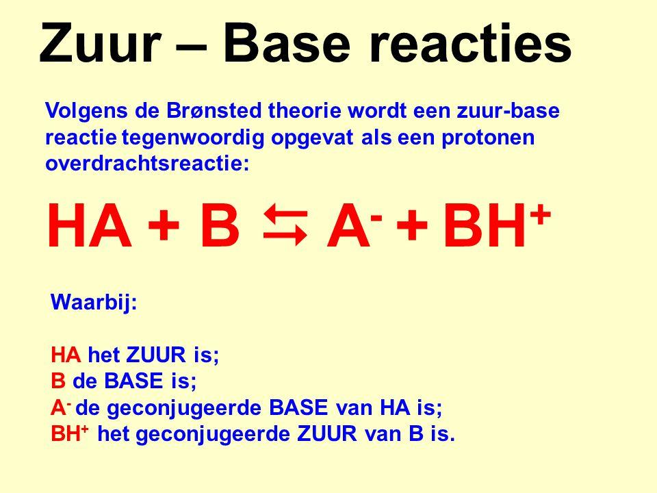 HA + B  A- + BH+ Zuur – Base reacties