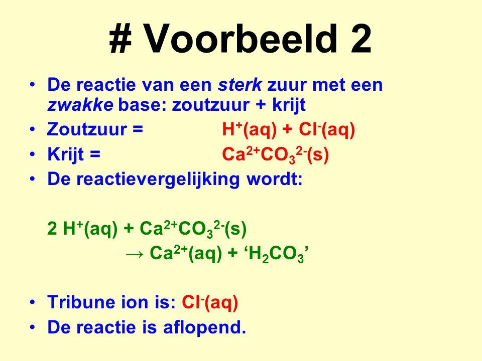 # Voorbeeld 2 De reactie van een sterk zuur met een zwakke base: zoutzuur + krijt. Zoutzuur = H+(aq) + Cl-(aq)