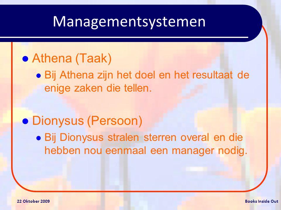 Managementsystemen Athena (Taak) Dionysus (Persoon)