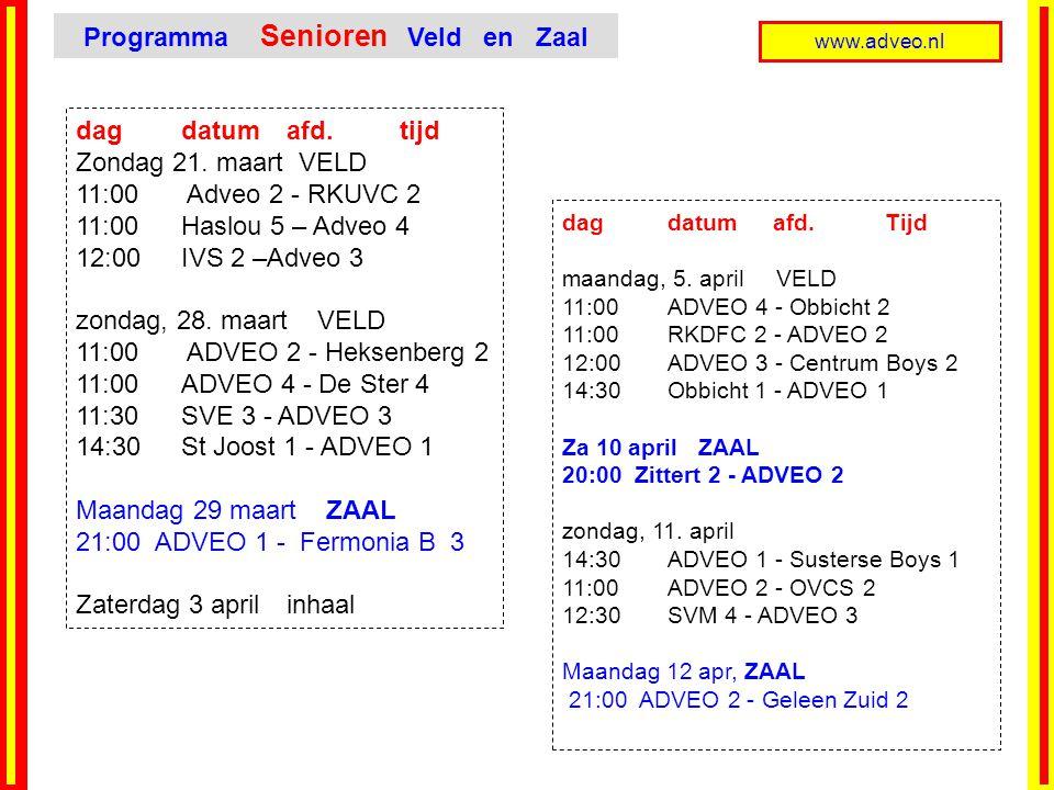 Programma Senioren Veld en Zaal