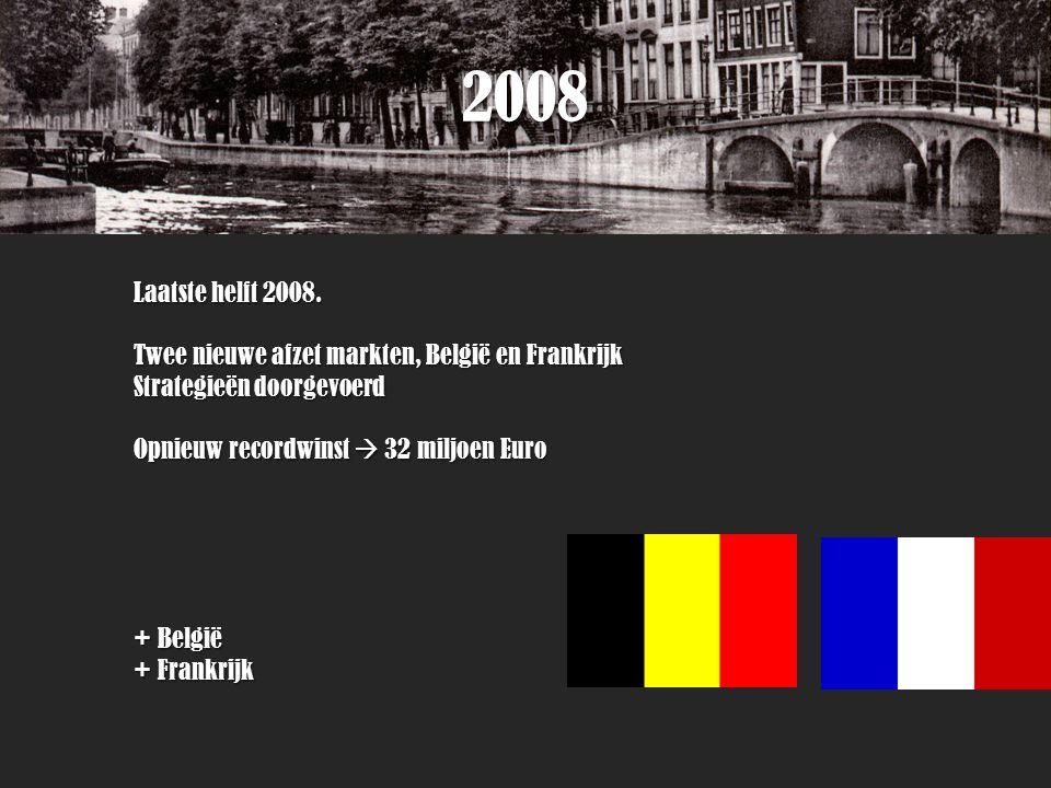 2008 Laatste helft 2008. Twee nieuwe afzet markten, België en Frankrijk. Strategieën doorgevoerd.