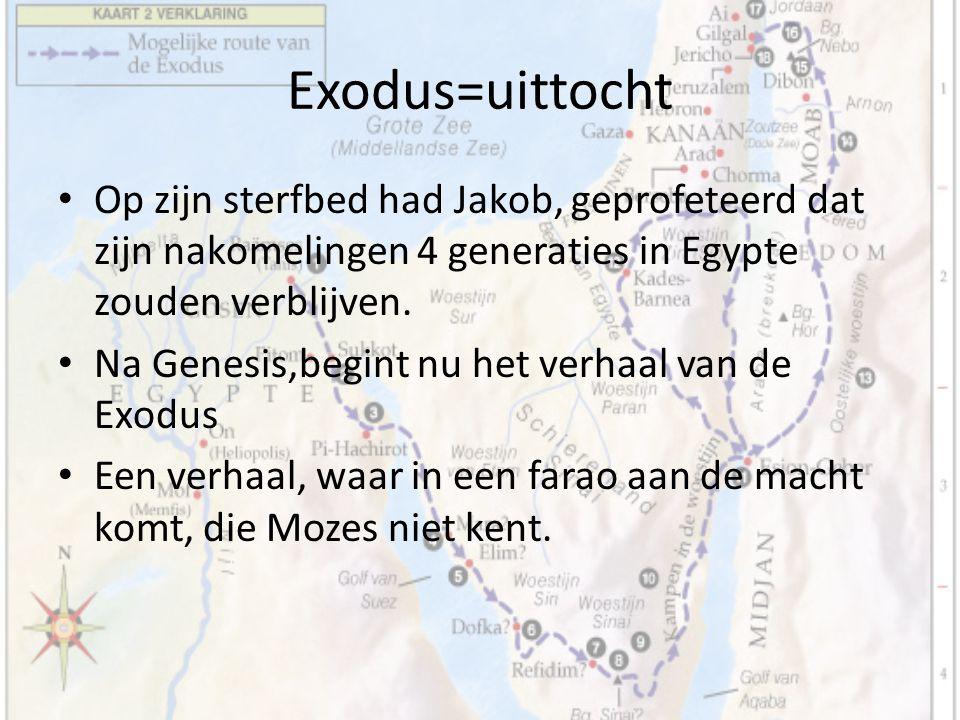 Exodus=uittocht Op zijn sterfbed had Jakob, geprofeteerd dat zijn nakomelingen 4 generaties in Egypte zouden verblijven.