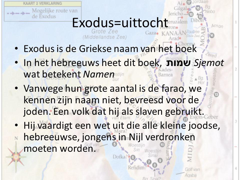 Exodus=uittocht Exodus is de Griekse naam van het boek