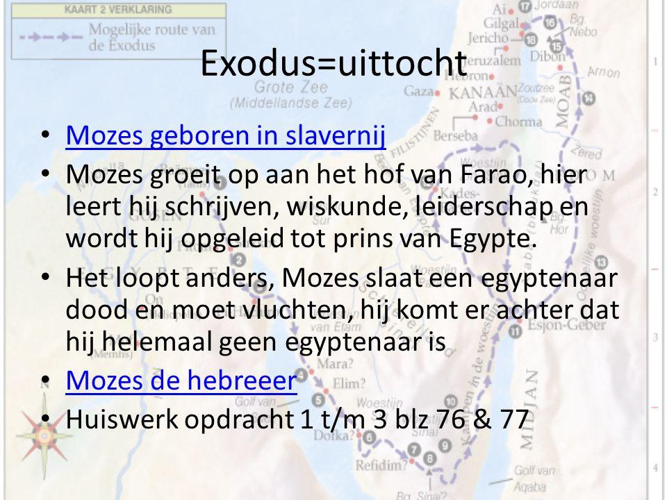 Exodus=uittocht Mozes geboren in slavernij