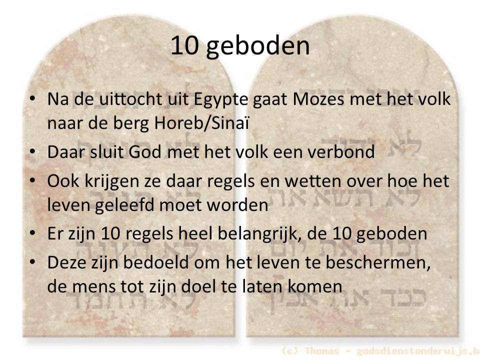 10 geboden Na de uittocht uit Egypte gaat Mozes met het volk naar de berg Horeb/Sinaï. Daar sluit God met het volk een verbond.