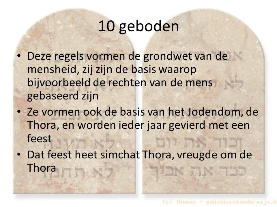 10 geboden Deze regels vormen de grondwet van de mensheid, zij zijn de basis waarop bijvoorbeeld de rechten van de mens gebaseerd zijn.