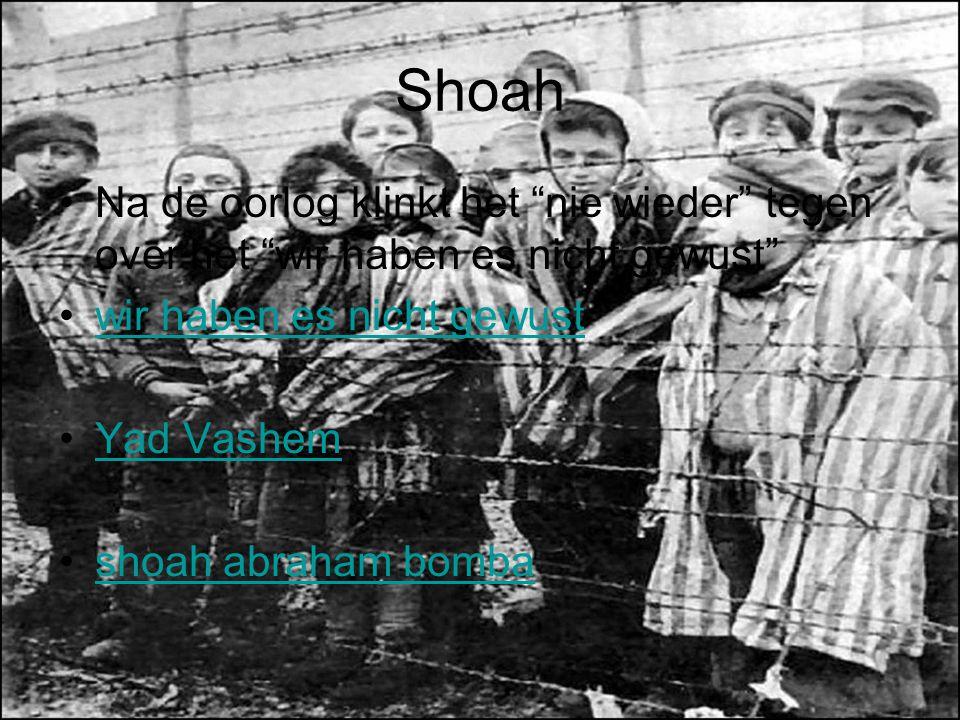 Shoah Na de oorlog klinkt het nie wieder tegen over het wir haben es nicht gewust wir haben es nicht gewust.