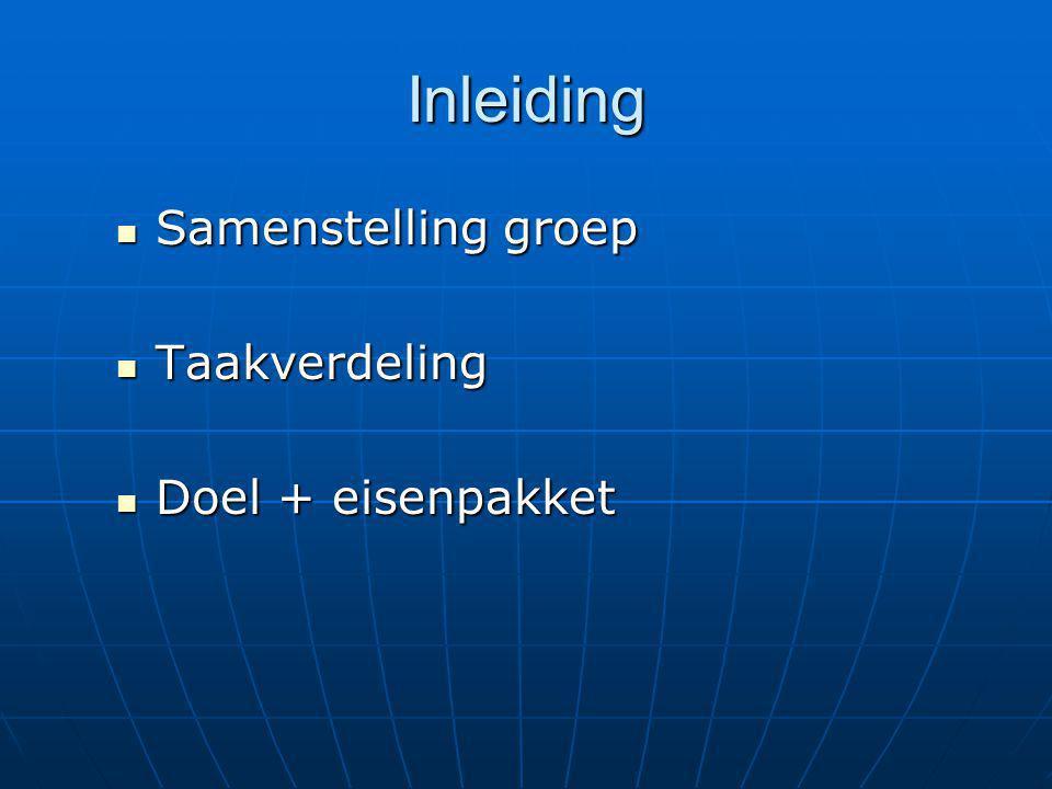 Inleiding Samenstelling groep Taakverdeling Doel + eisenpakket Stijn 3