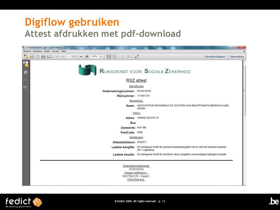 Digiflow gebruiken Attest afdrukken met pdf-download