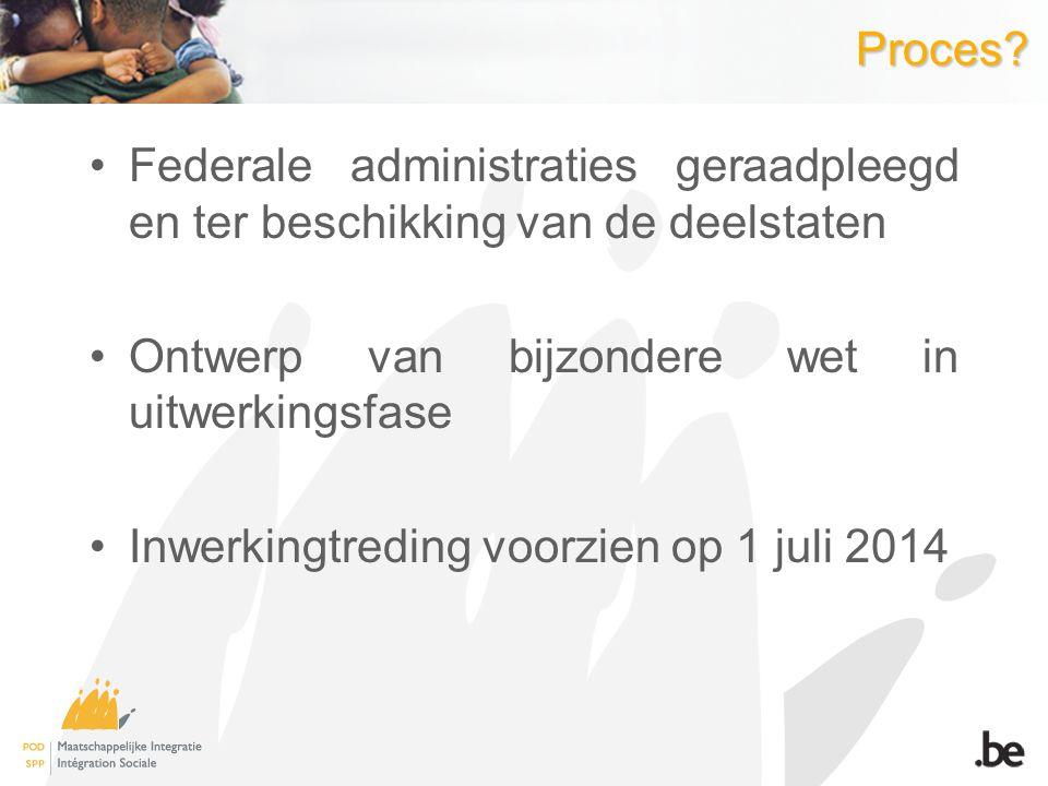 Proces Federale administraties geraadpleegd en ter beschikking van de deelstaten. Ontwerp van bijzondere wet in uitwerkingsfase.
